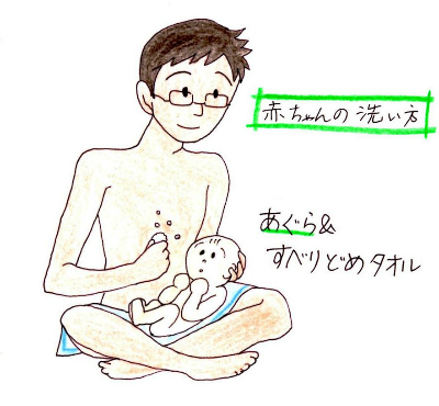 papa give baby a bath