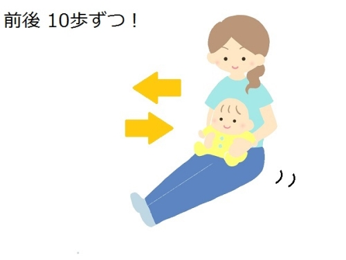 赤ちゃんを乗せてヒップウォークしているイラスト
