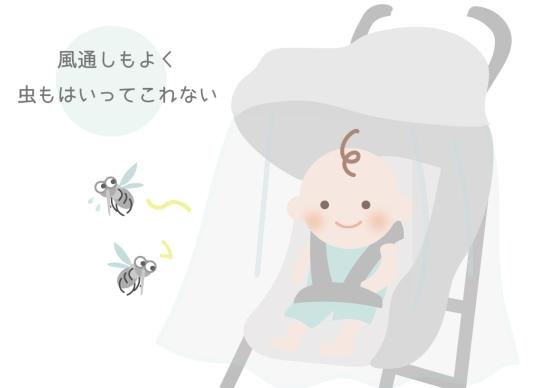 ベビーカーに蚊帳を付けよう0713-1