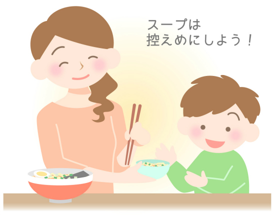 子供が飲むラーメンのスープは少なめにしよう