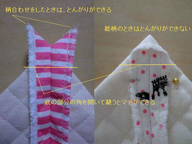 布の取り方でまちの部分が違う