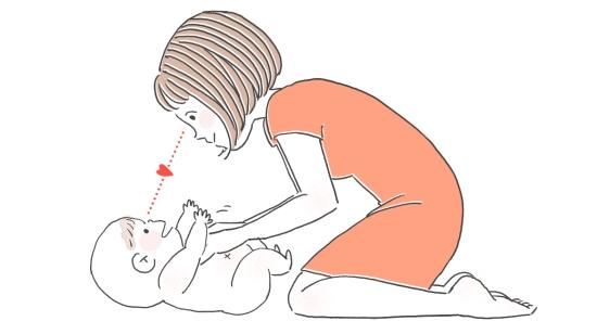赤ちゃんと目を合わせながらマッサージ135910