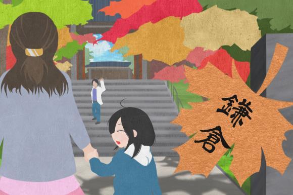 箱根に子連れで旅行に行っている様子