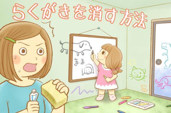 壁に落書きをしている子供