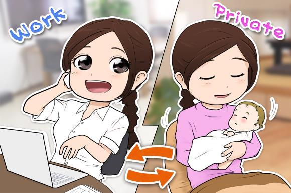 育児と仕事を両立している笑顔のワーママ