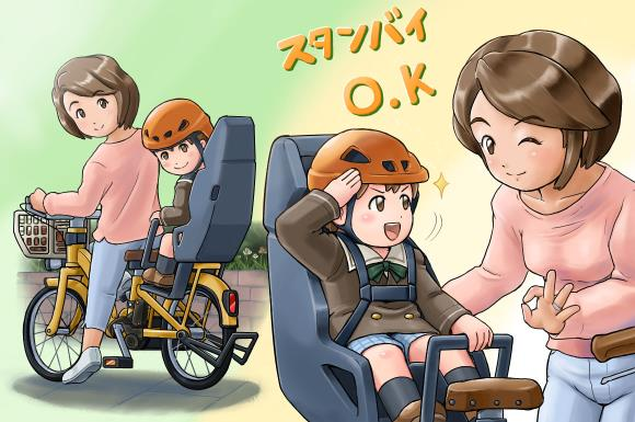 子供の園への送迎を電動自転車でしているママ