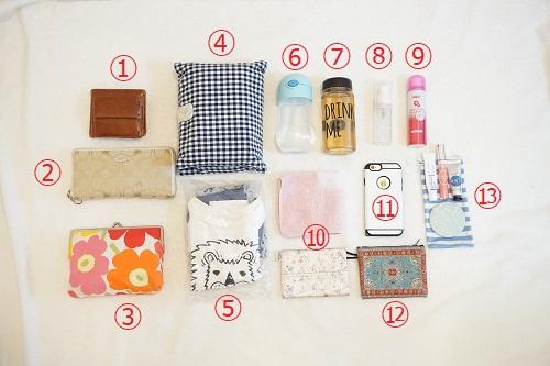 私の普段のかばんに入っている色々なアイテムの画像