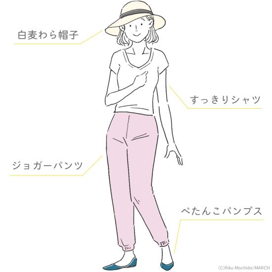 すっきりシャツ+ジョガーパンツ+ぺたんこパンプス+白麦わら帽子