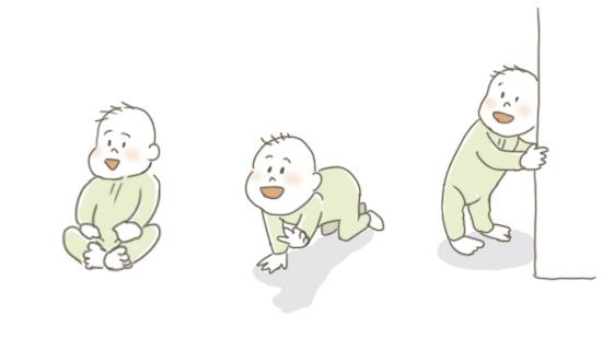 赤ちゃんが歩くための段階