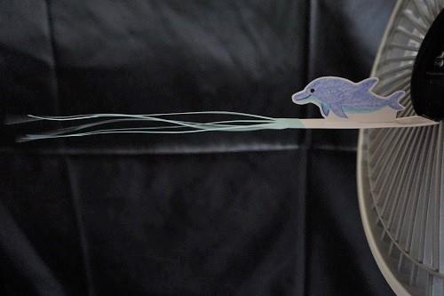 扇風機の手作り吹き流しの画像