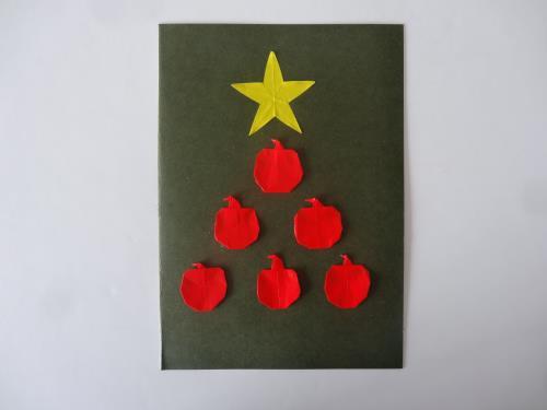 折り紙でりんごを折る折り方の手順画像