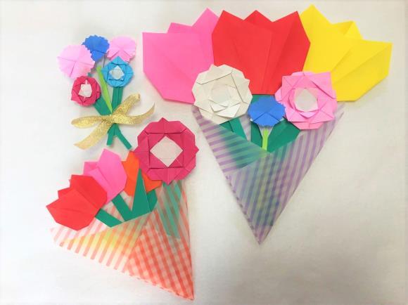 バラ 折り紙 簡単 平面