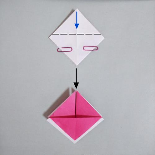 折り紙でバレンタインで使えそうなハートを折る折り方の画像