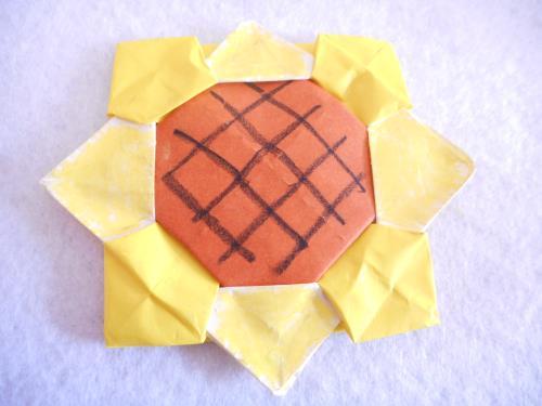 折り紙でひまわりを折る折り方の手順画像