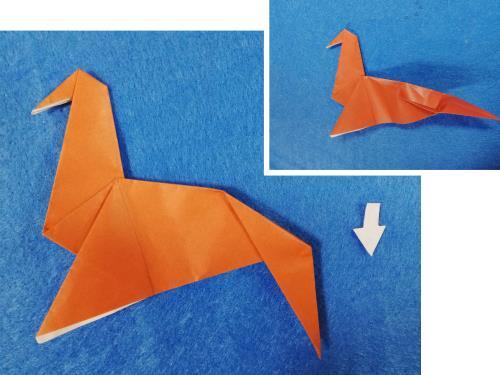折り紙で馬を折る折り方の手順画像