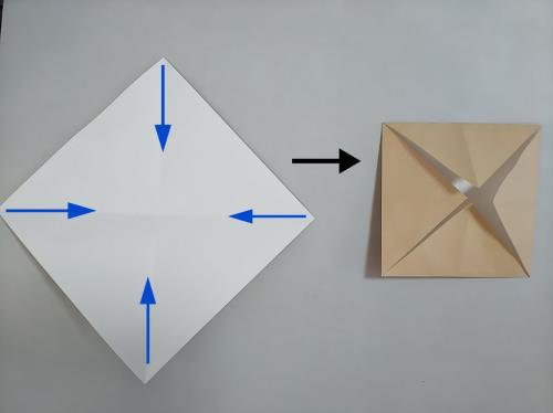 折り紙で春野菜を折る折り方の手順画像