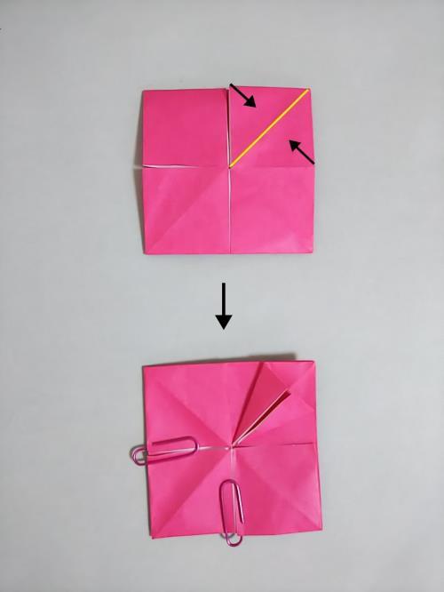 折り紙でダリアの花を折る折り方の手順画像