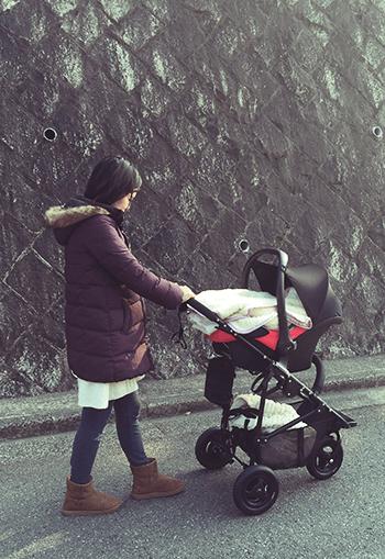 生後2ヶ月位のお散歩スタイル