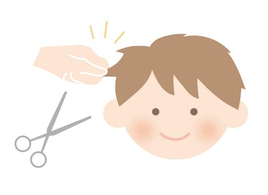 髪の毛をつまんでカットする