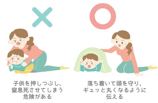 寝ている子供を地震から身を守る方法