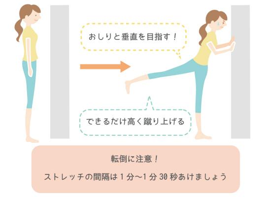 壁に手をついて足を振り上げるダイエットのやり方