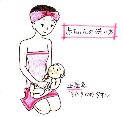 ママがお風呂のあと赤ちゃんをどうやってふけばいいのかの図