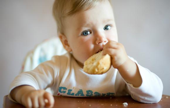 離乳食のパンを食べる赤ちゃん