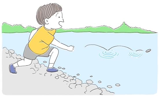 河原で石投げ145123