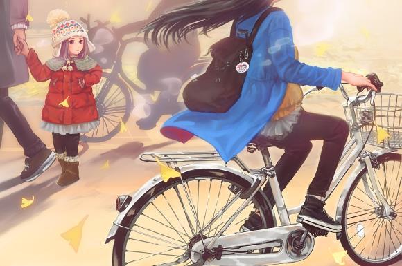 自転車と妊婦さんの画像