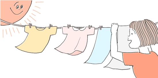 洗濯物は外干し