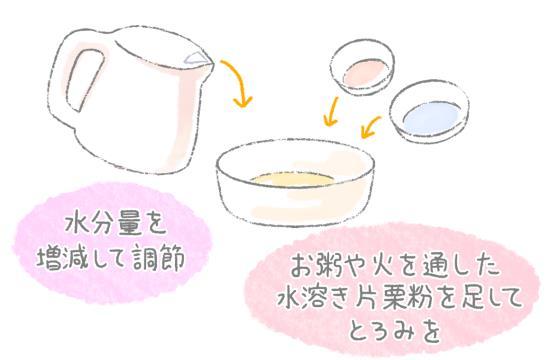 食材の固さはなめらかにすり潰したポタージュ状を目安に