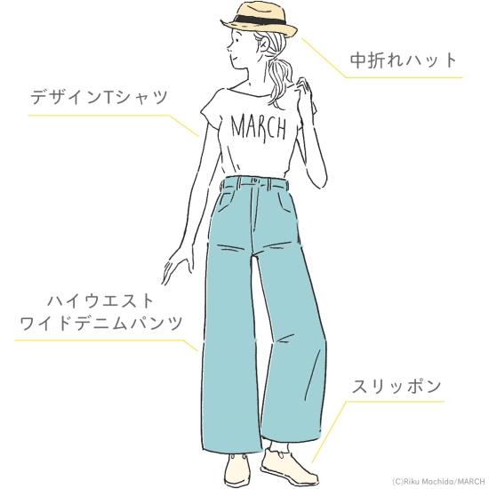 デザインTシャツ+ハイウエストワイドデニムパンツ+スリッポン+中折れハット