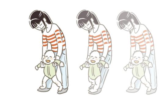 親子でペンギン歩き