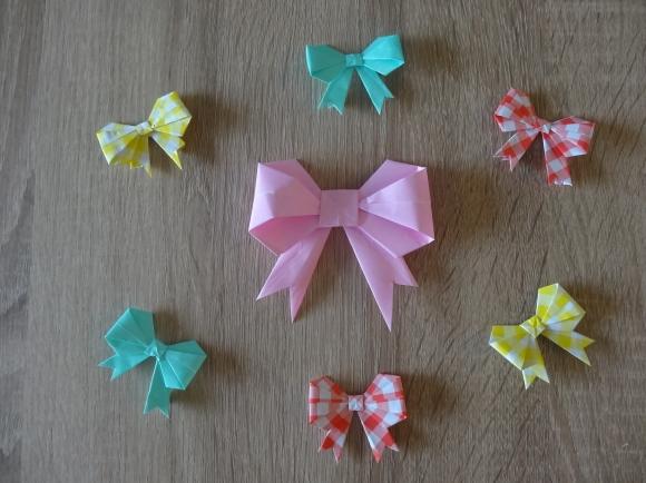 折り紙で作ったリボンの完成品