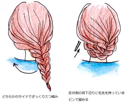 三つ編みアップのイラスト