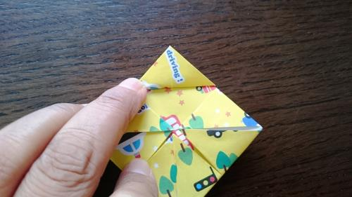 折り紙でコマを折る折り方の手順の画像