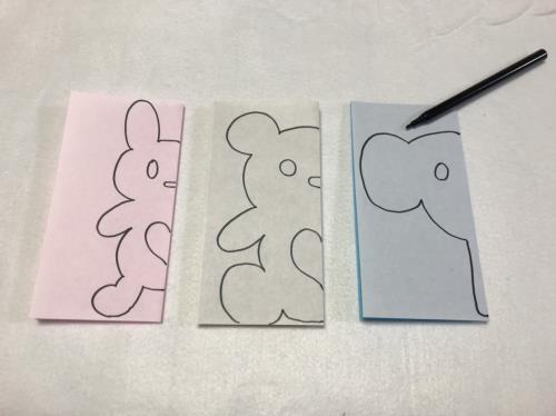 手つなぎペンギンの切り絵切り紙簡単な動物の無料型紙図案